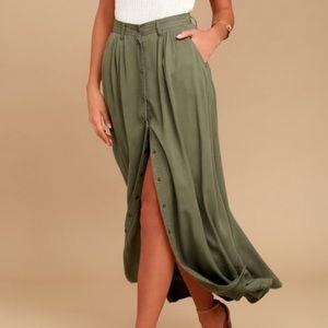 Lulus Pistola Olive Green Maxi Skirt - Size S